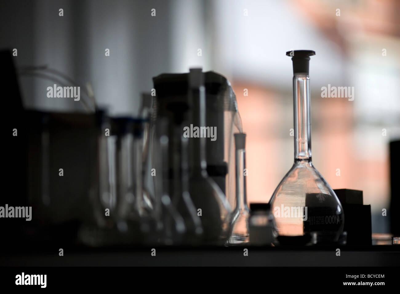 Glass beakers Stock Photo