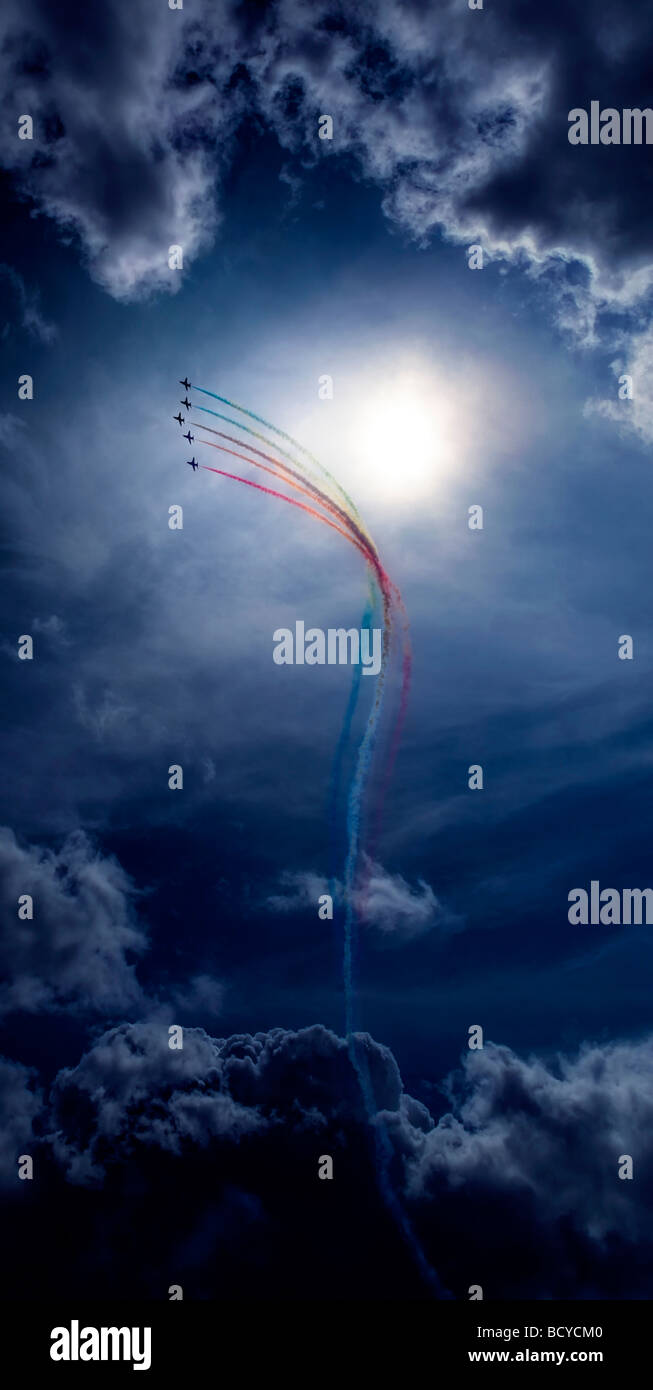 The Red Arrows find a gap in the storm at Lowestoft Air Show 2009 - Stock Image