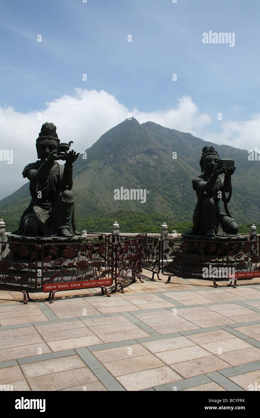 statues surrounding Giant Buddha Ngong Ping, Lantau Island, Hong Kong  April 2008 - Stock Image