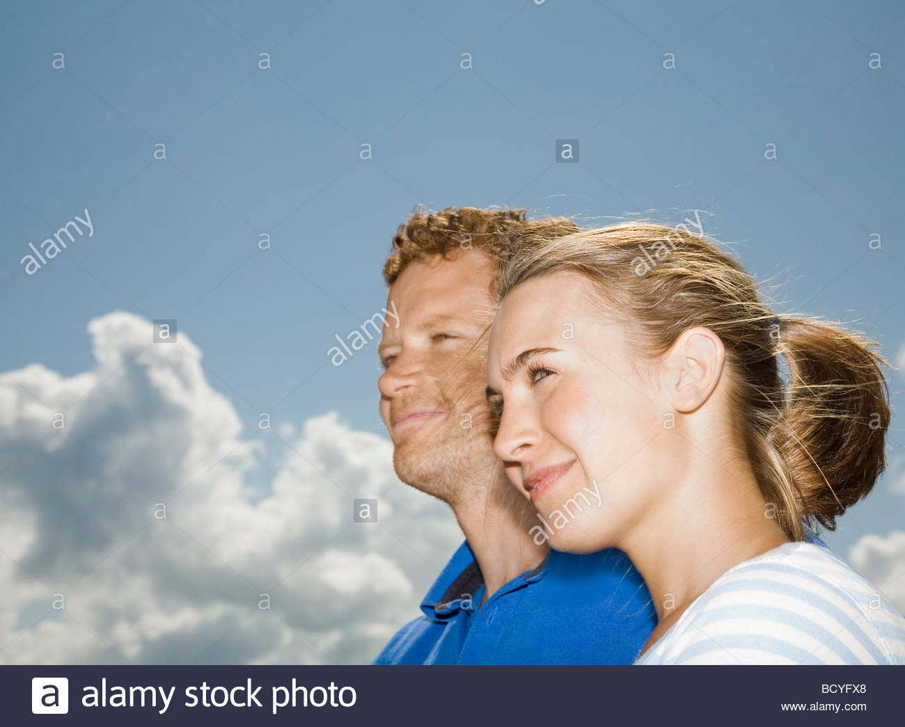 Couple Looking Left Together - Stock Image