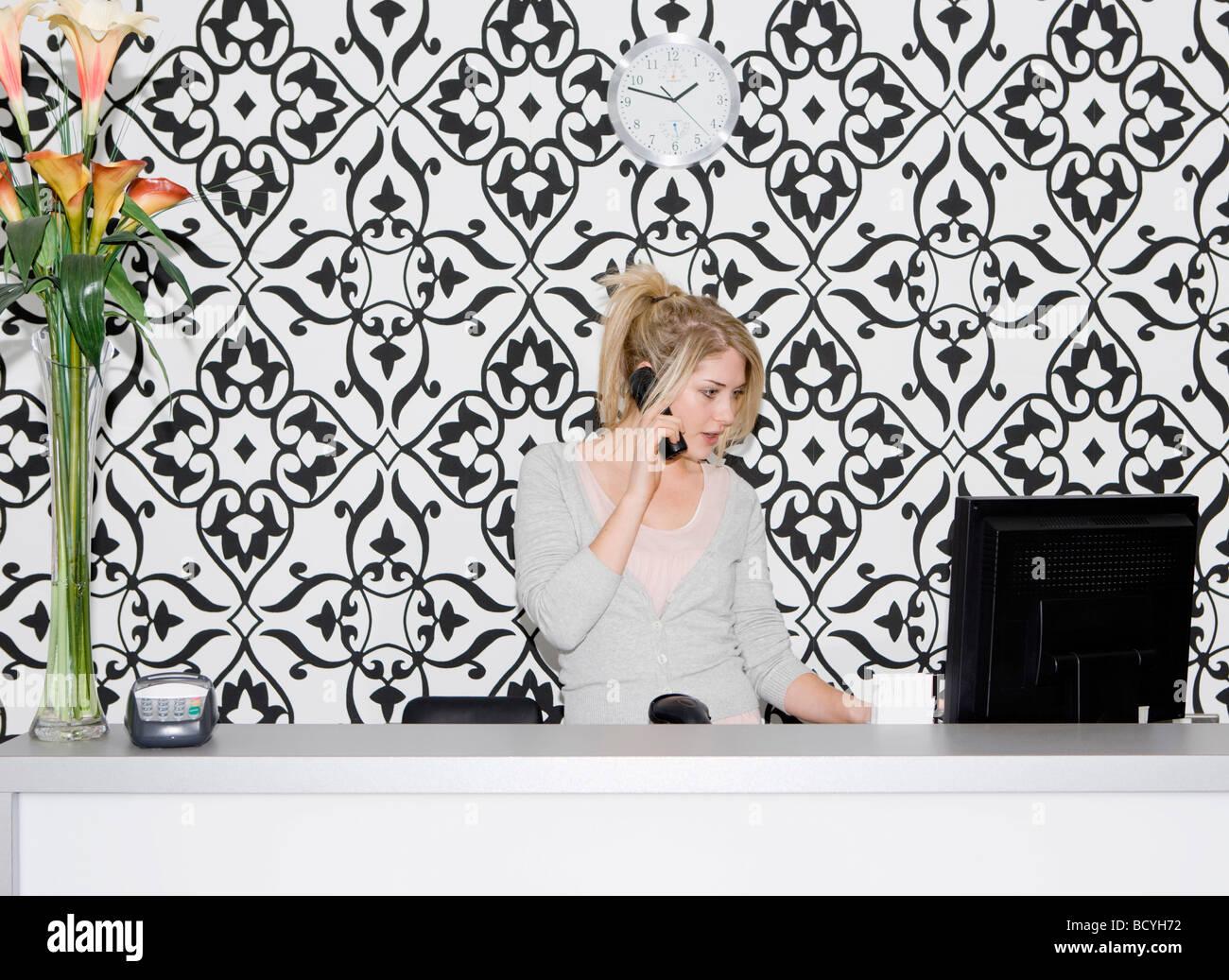 Portrait female business owner - Stock Image