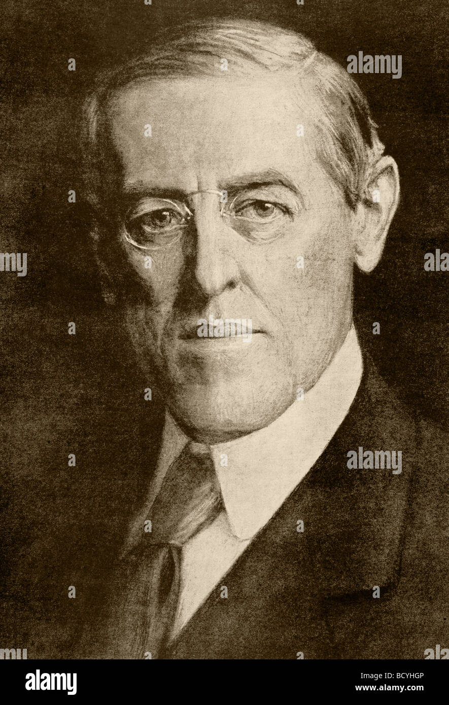 Thomas Woodrow Wilson 1856 to 1924.  28th President of the United States. - Stock Image