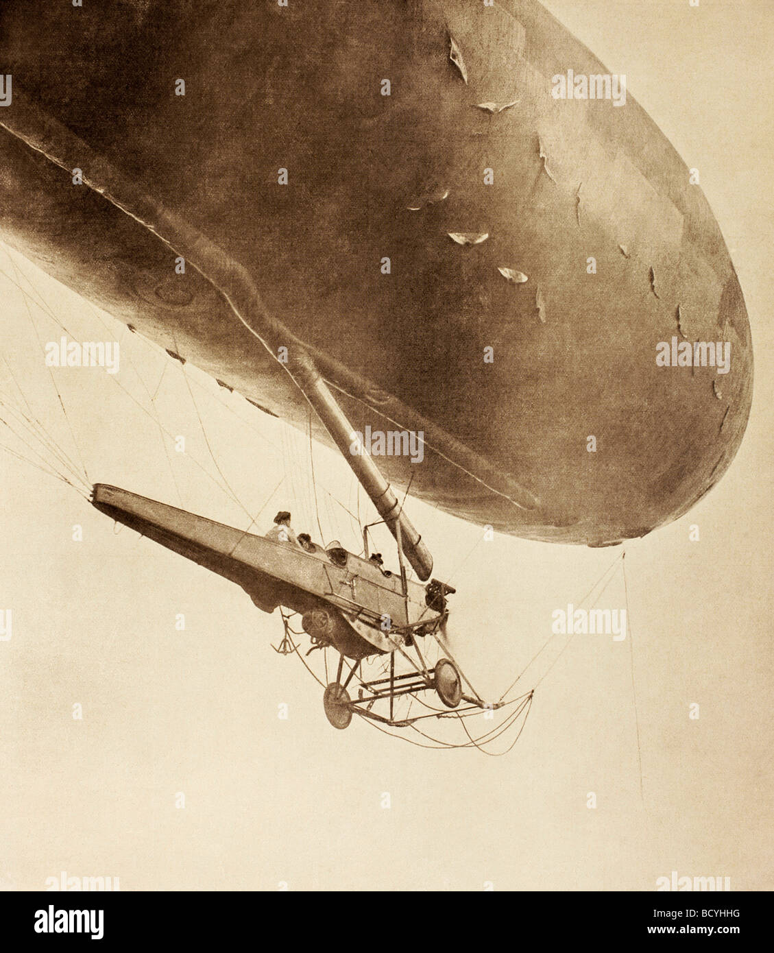 A French navy dirigible leaves on a reconnaissance flight. - Stock Image