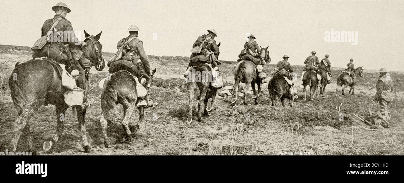 Canadian light cavalry heading into action on the Western Front. - Stock Image
