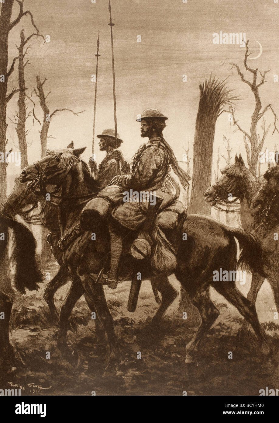 Indian lancers in Artois France during the First World War. - Stock Image