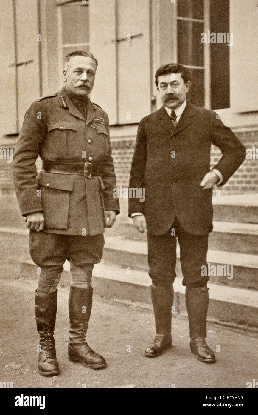 Field Marshal Sir Douglas Haig Commander in Chief of British forces left and Paul Painleve French Minister of War - Stock Image
