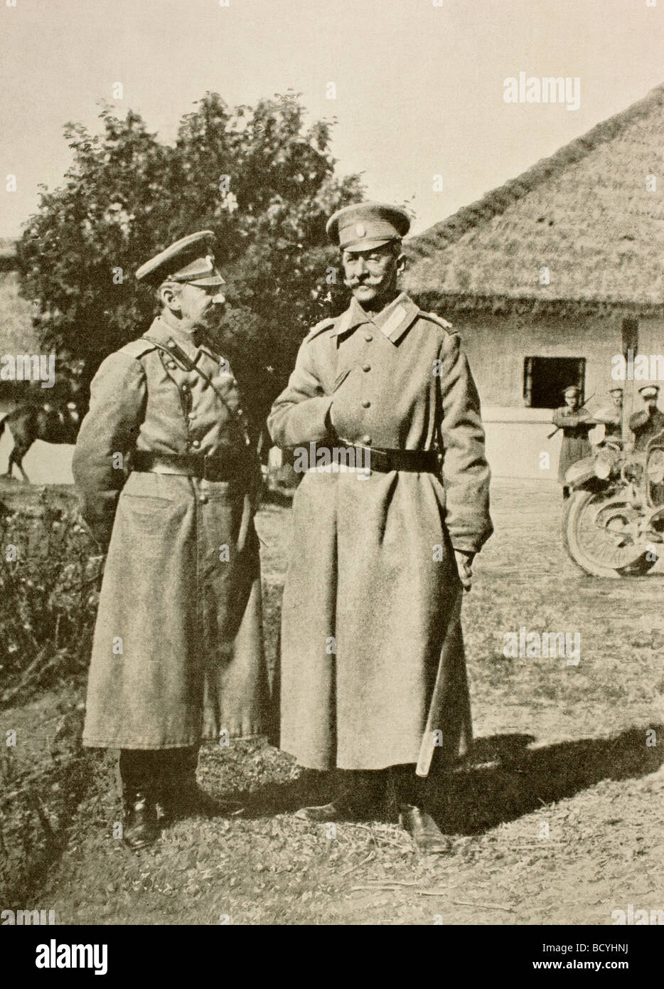 Russian Field Marshal Count Joseph Vladimirovich Romeyko Gourko left, and General Aleksei Alekseevich Brusilov right. - Stock Image