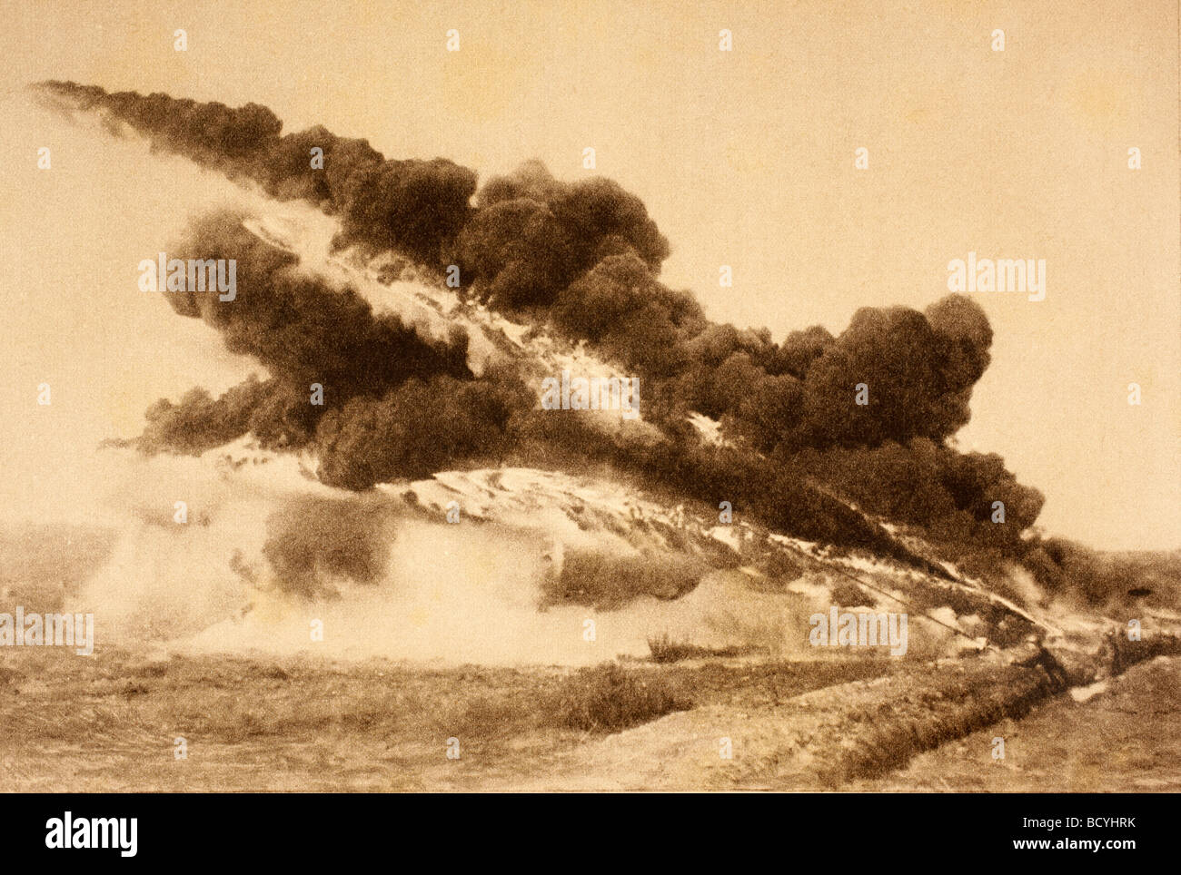 Flame throwers in action during First World War. - Stock Image