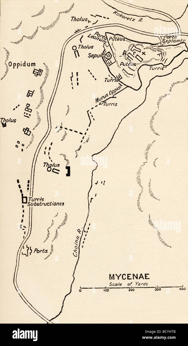 Map of Mycenae, Greece. - Stock Image