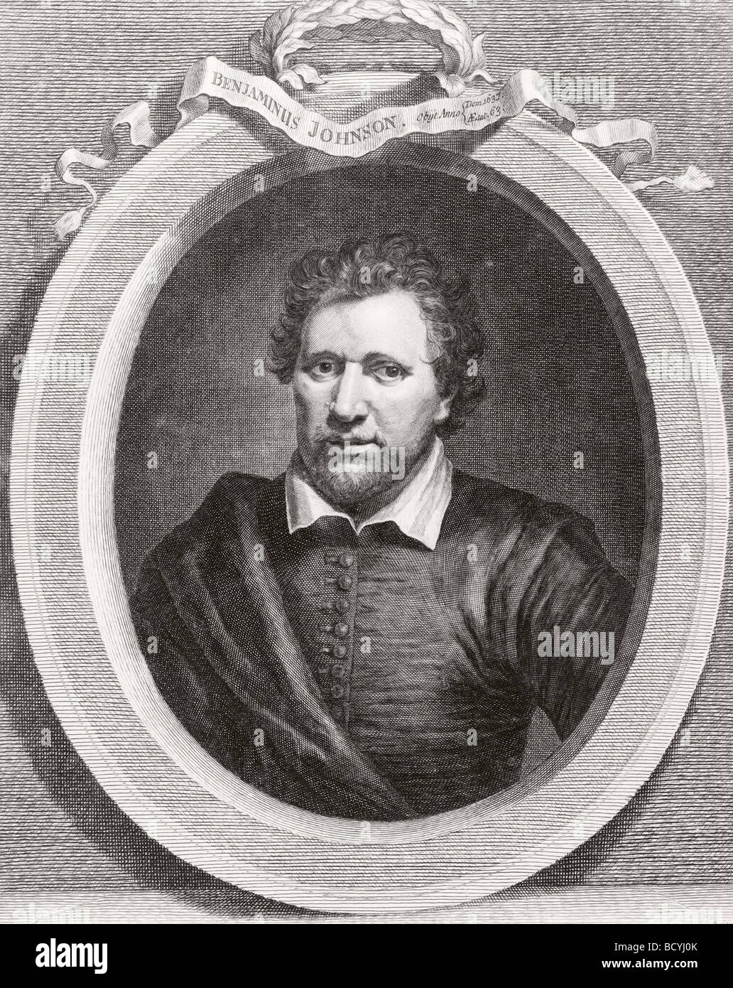 Ben Jonson, aka Benjamin Johnson, 1572 - 1637.  English Renaissance dramatist poet and actor. - Stock Image