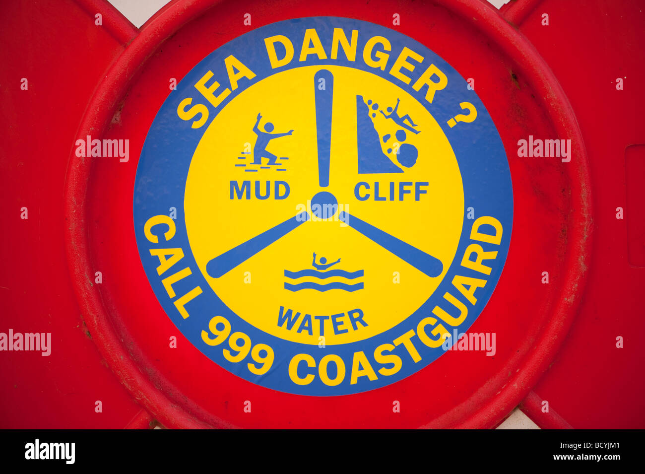 Sea Danger information panel on seaside lifebelt UK - Stock Image