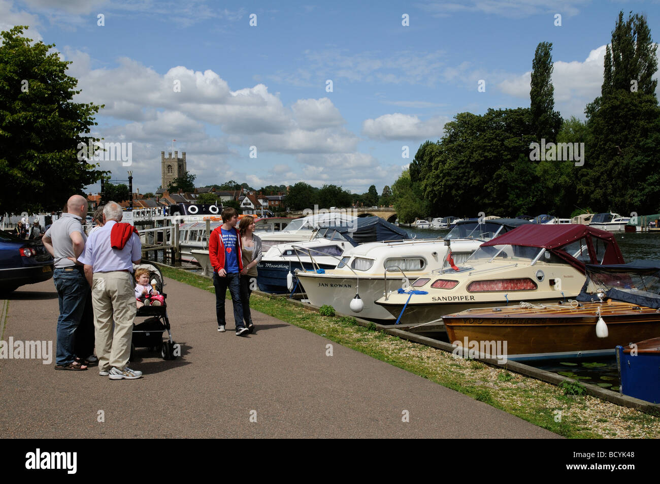 Henley on Thames Oxfordshire England visitors on the River Thames towpath - Stock Image
