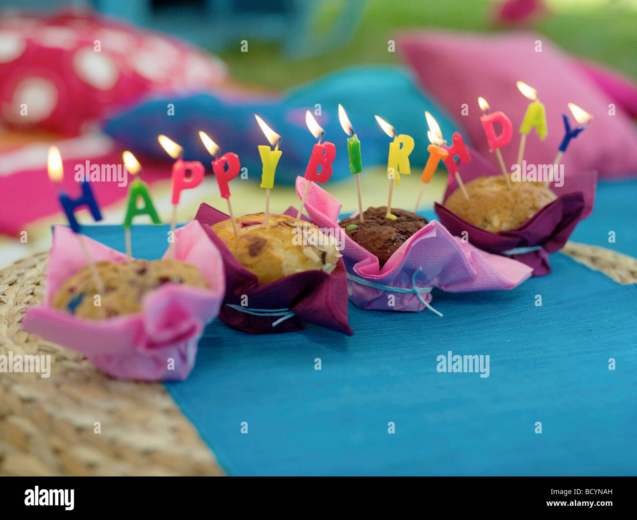 Cakes Saying Happy Birthday With Candles