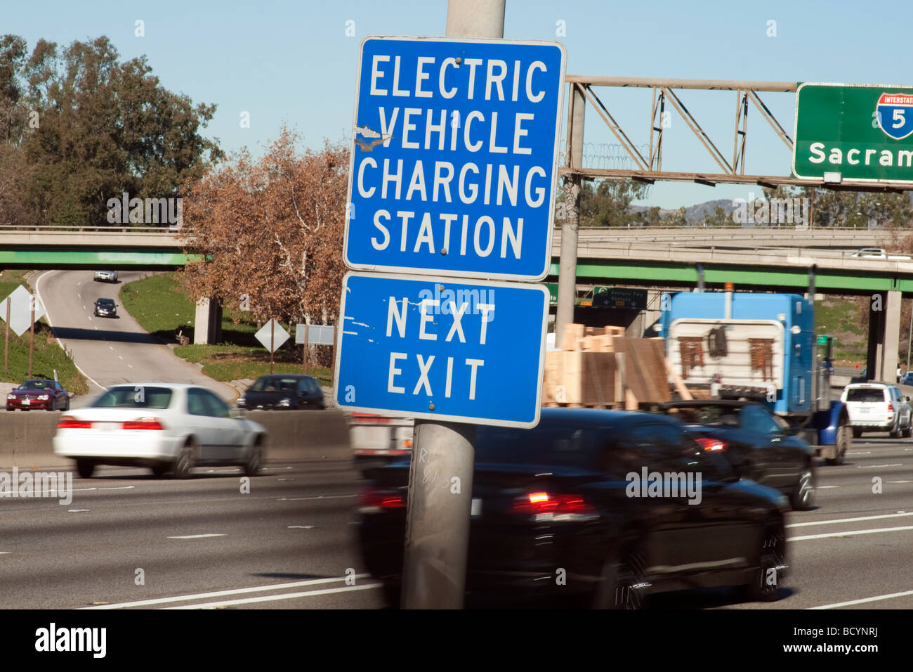 Electric Vehicle Charging Station Sign, I-5, Los Angeles, California, USA - Stock Image