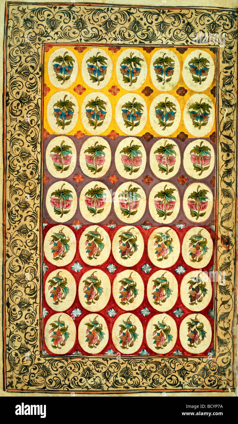 Textile design. India, 18th century - Stock Image