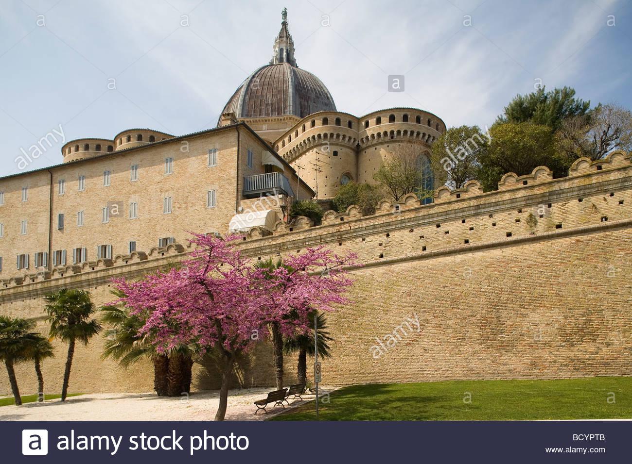 europe, italy, marche, loreto, ancient walls - Stock Image