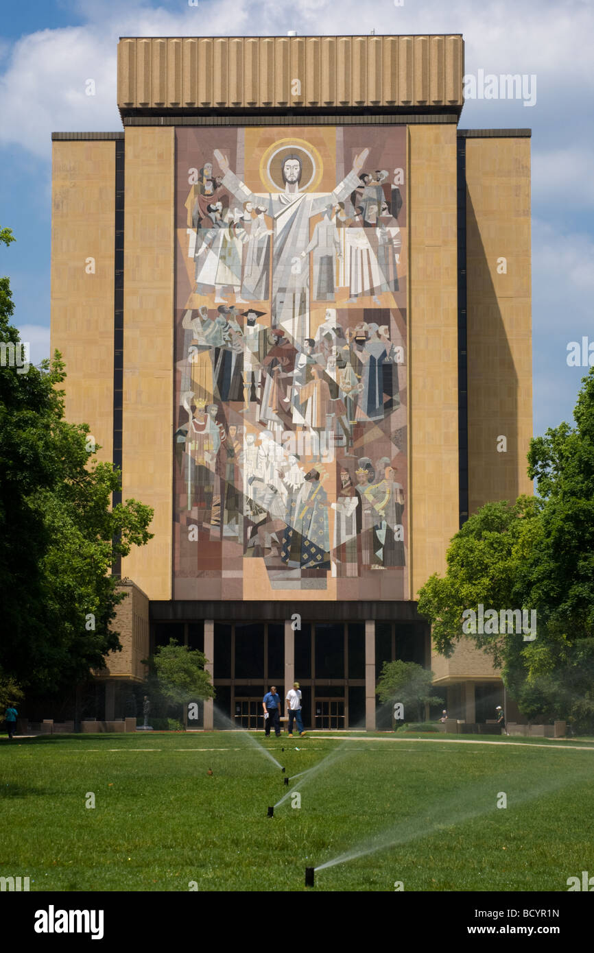 Mural near football stadium at Notre Dame University is known as Touchdown Jesus South Bend Indiana - Stock Image
