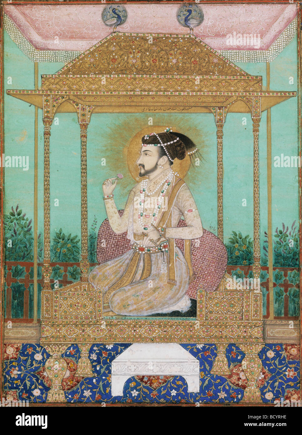 Shah Jahan seated on Peacock Throne, Mughal Style. India, early 17th century Stock Photo