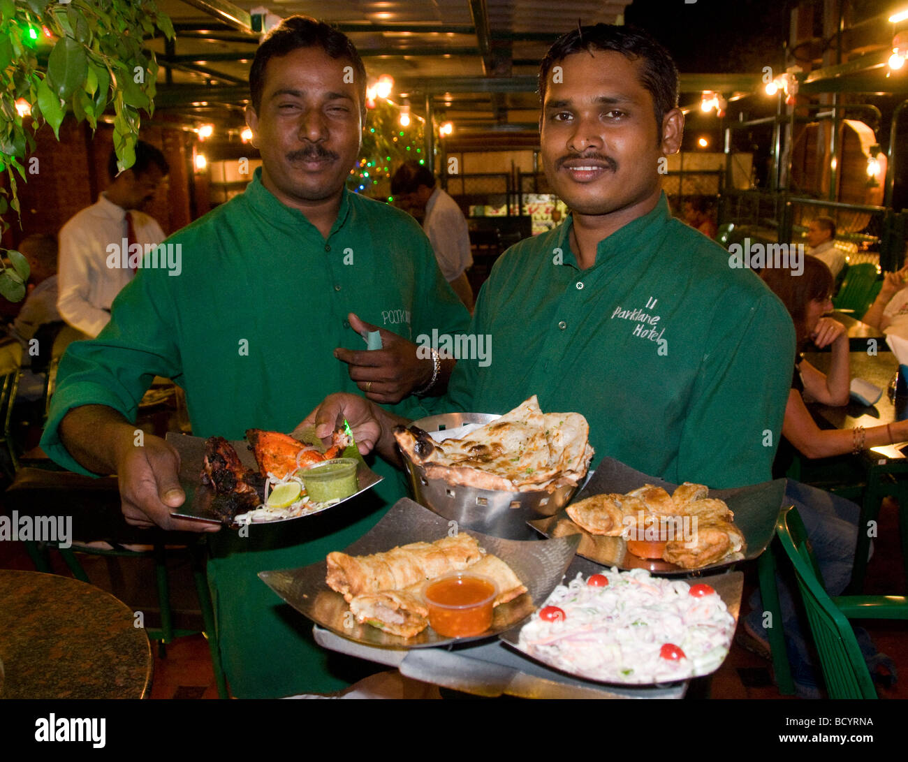 Indian waiters in a restaurant in South India - Stock Image