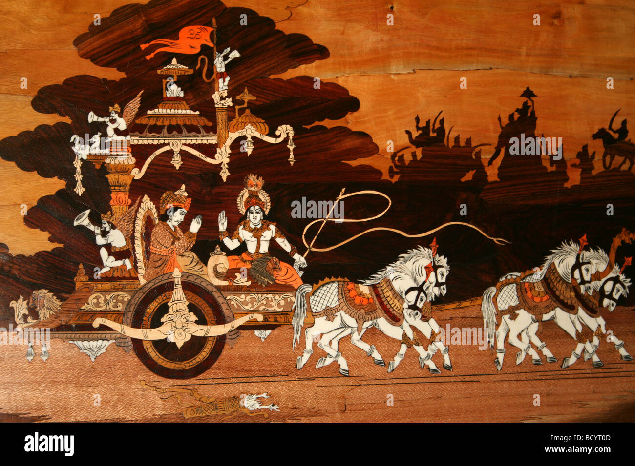 Indian Marquetry Panel Showing Horse Drawn Carriage - Stock Image