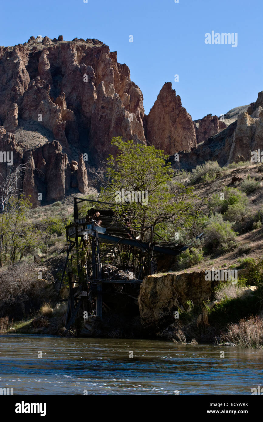 OLd MINING SLUICE along the wild and scenic OWYHEE RIVER EASTERN OREGON - Stock Image