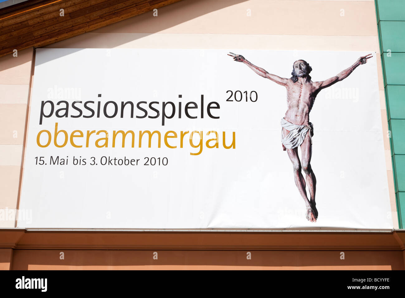 Oberammergau Passion Play Theatre poster 2010, Bavaria, Germany - Stock Image