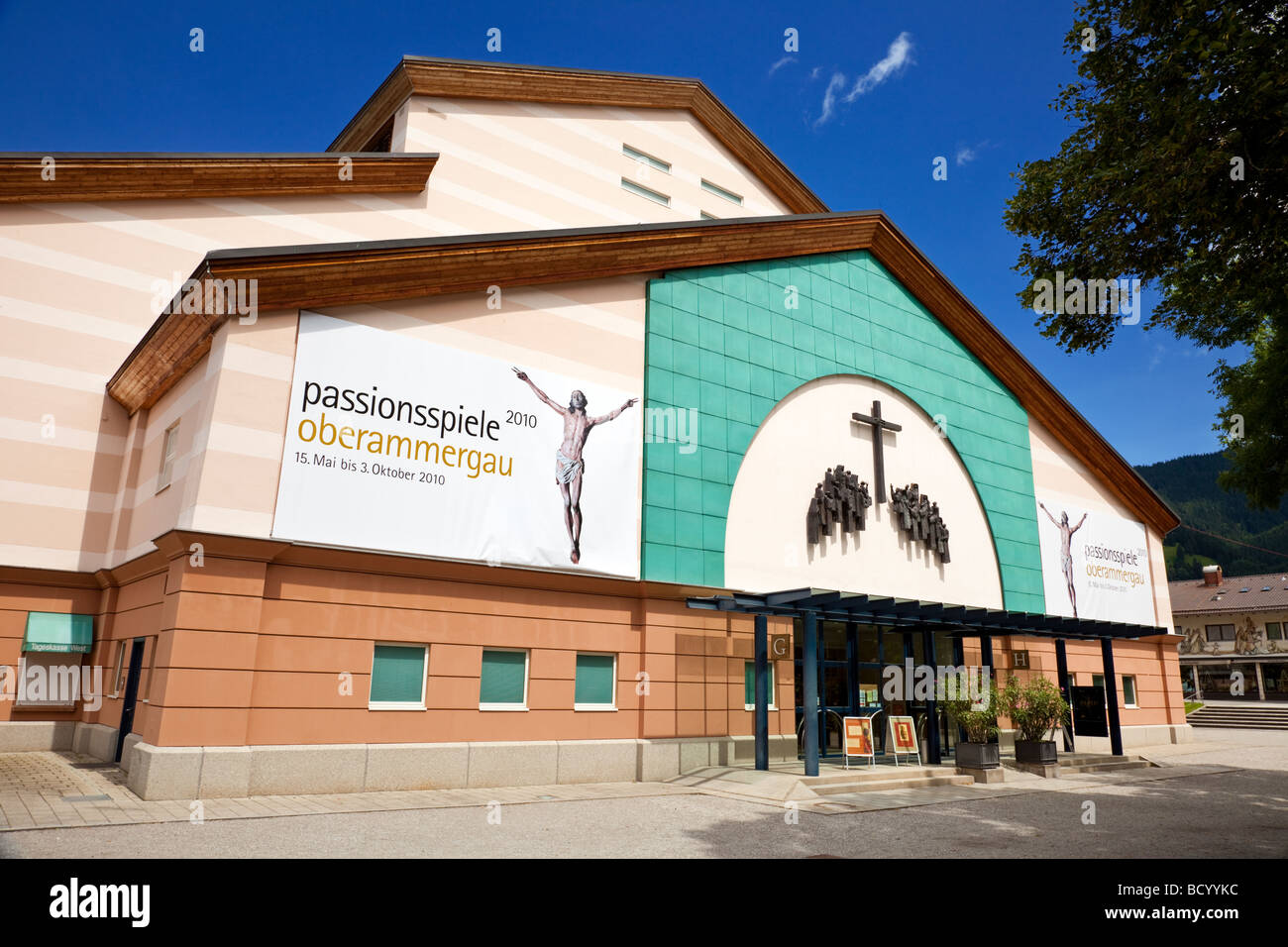 Oberammergau Passion Play Theatre, Bavaria Germany Stock Photo