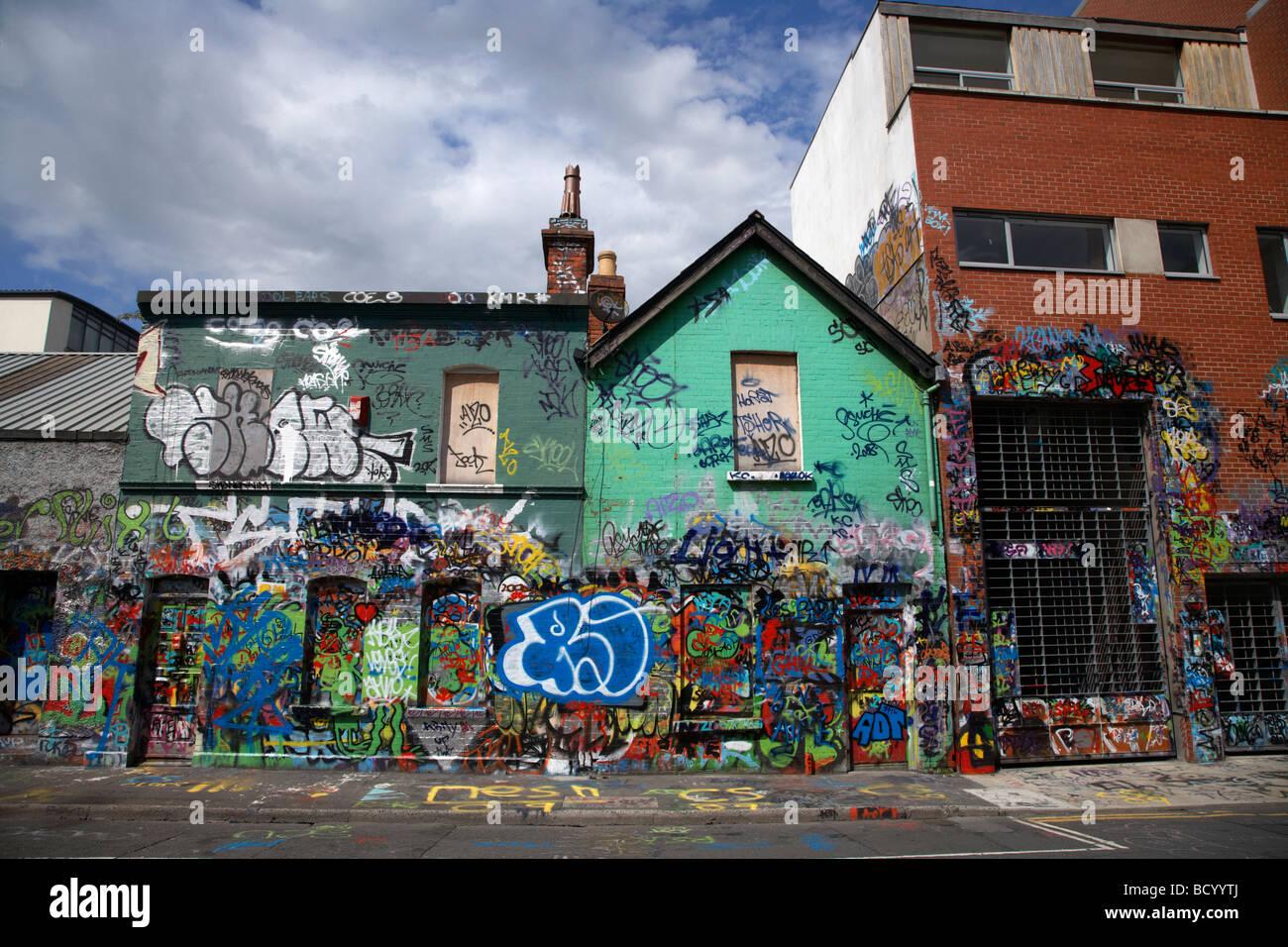 the famous U2 wall covered in fan grafitti at windmill lane studios in dublin republic of ireland - Stock Image