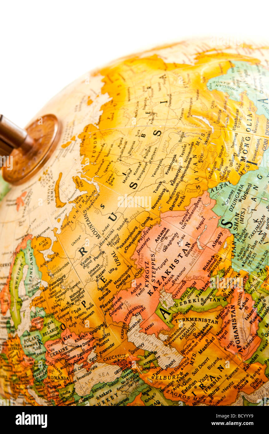 Part of a globe with map of Russia - Stock Image
