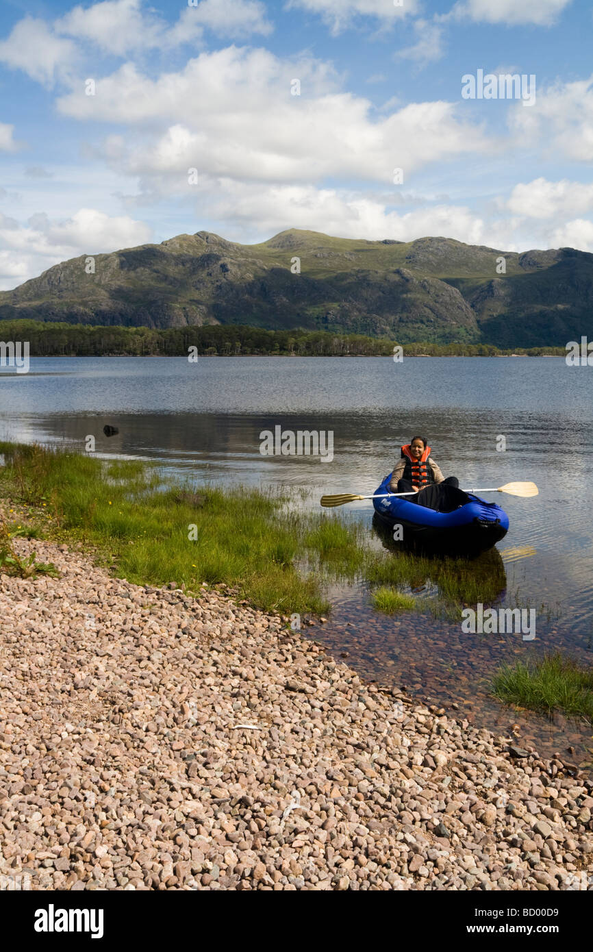 Canoeist on Loch Maree, Wester Ross, Scotland - Stock Image