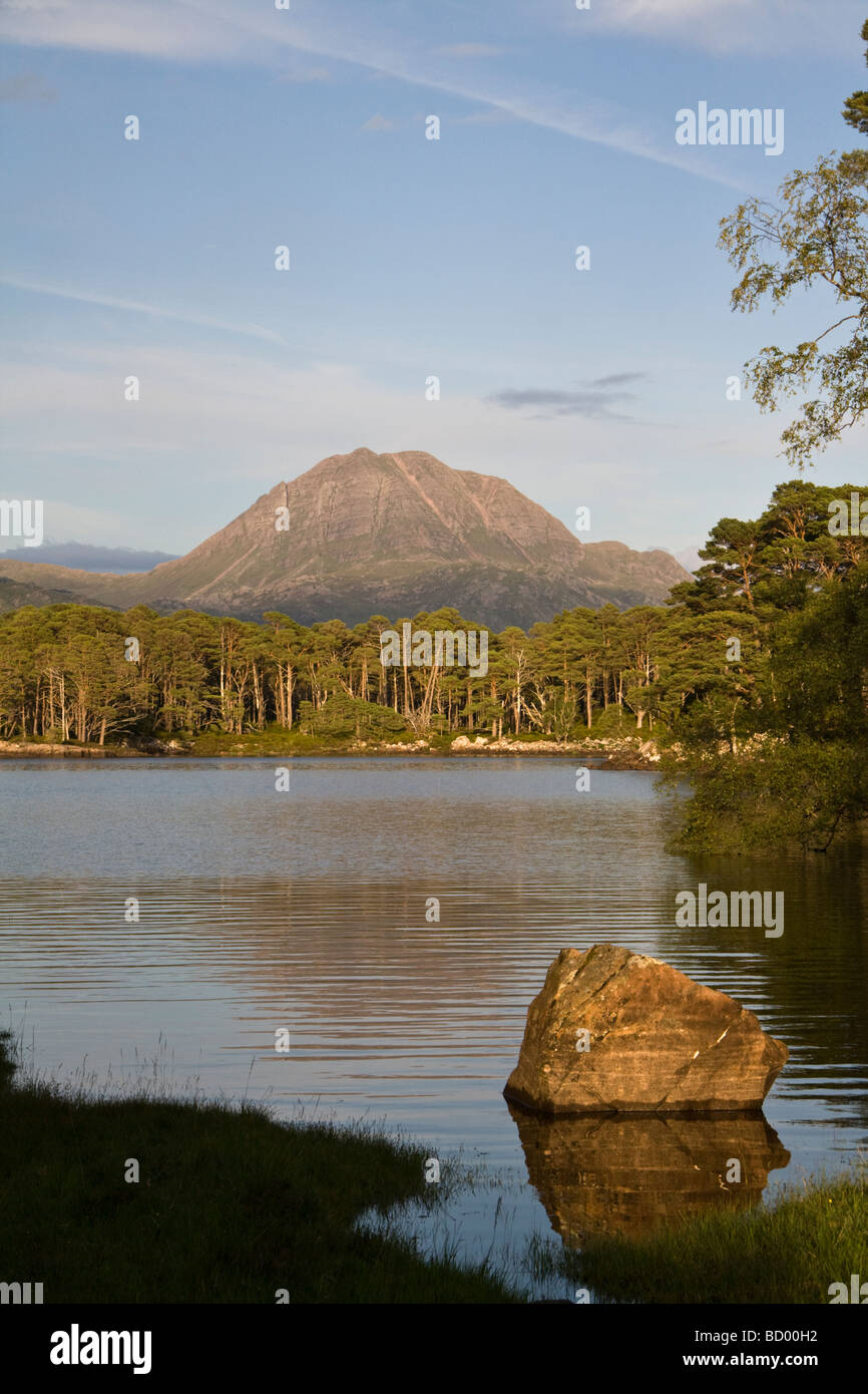Looking across Loch Maree towards the mountain Slioch from and island Stock Photo