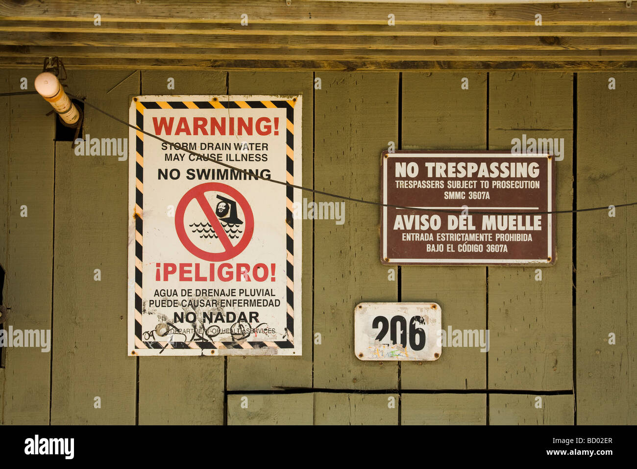 Sign about Water Pollution under the Santa Monica Pier Los Angeles County California United States of America - Stock Image