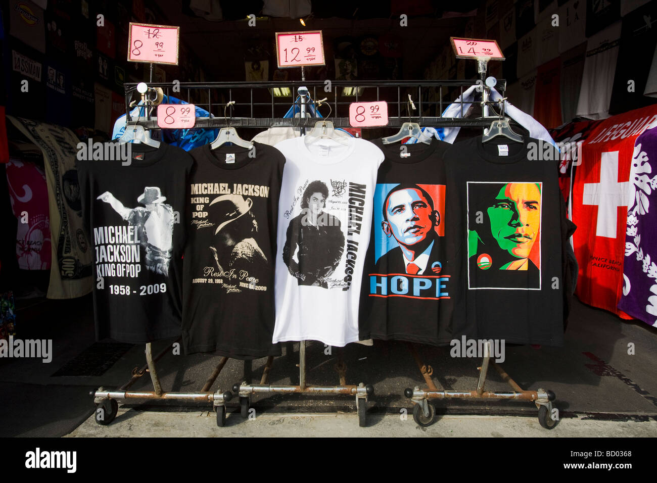 Barack Obama and Michael Jackson Tee Shirts for sale Venice Beach Los Angeles County United States of America - Stock Image