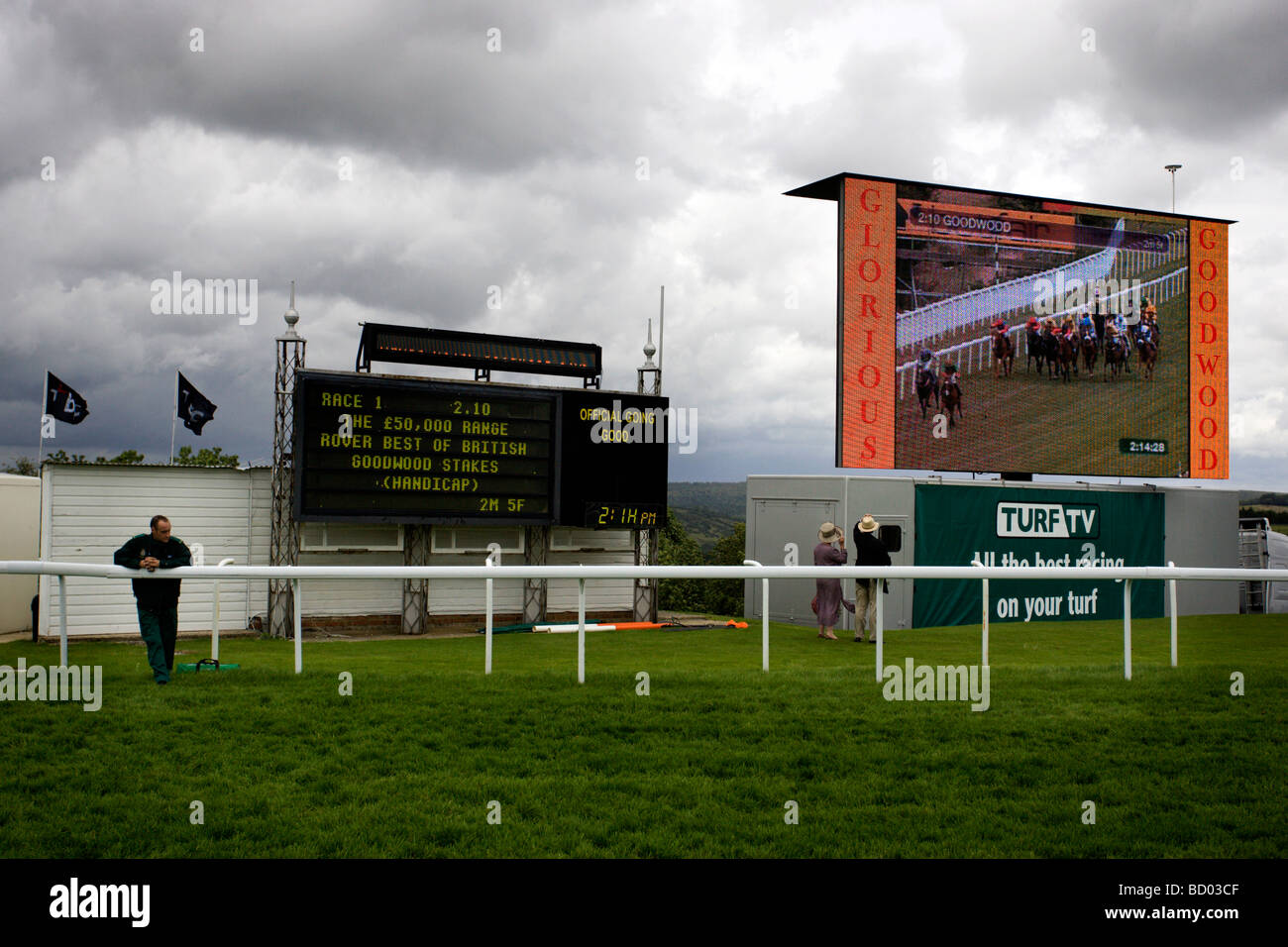 View of the big screen during the 2.10pm first race of the day at Glorious Goodwood, West Sussex. - Stock Image