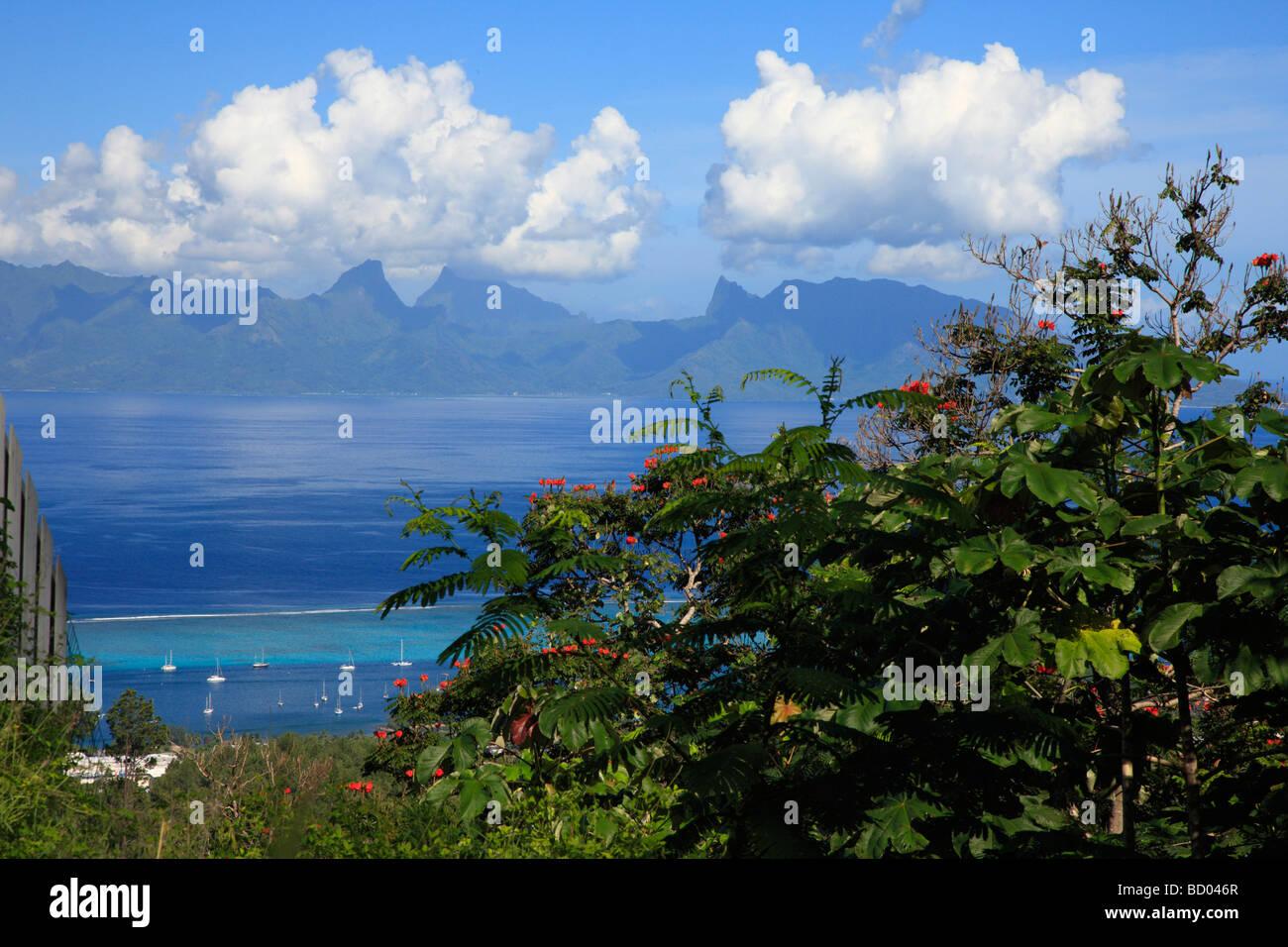 Moorea view from Tahiti, French Polynesia - Stock Image