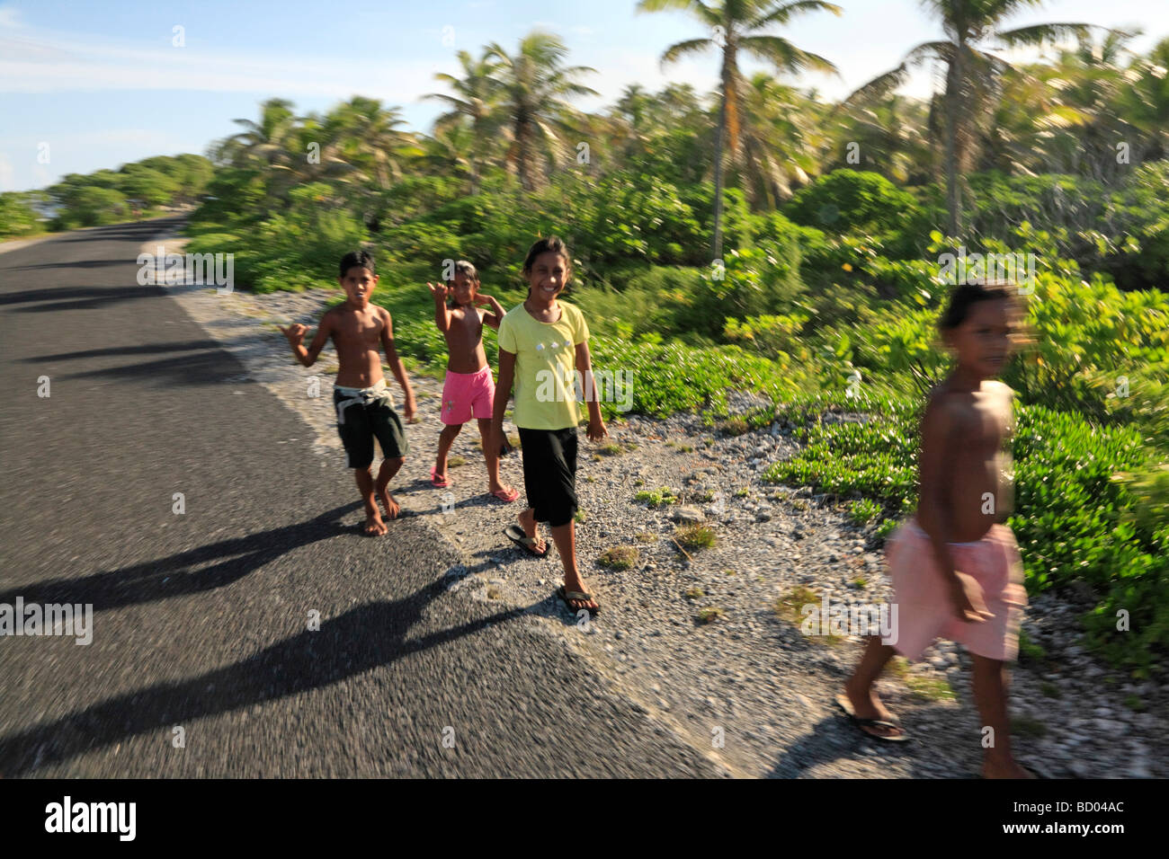 Childrens of Rangiroa, Tuamotu Archipelago, French Polynesia - Stock Image