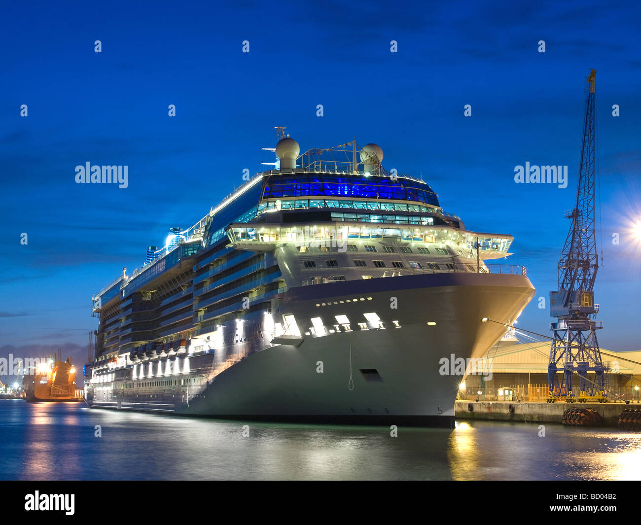 Cruise ship Celebrity Equinox berthed in Southampton UK during her inaugural celebrations prior to her naming ceremony - Stock Image