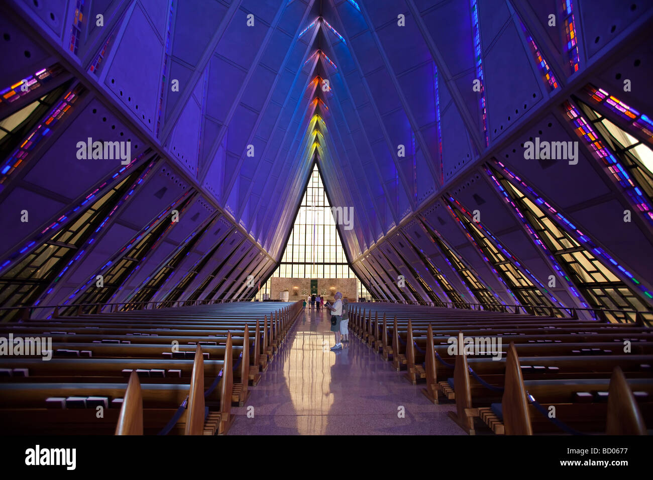 Colorado Springs Colorado The inside of the Cadet Chapel at the United States Air Force Academy - Stock Image