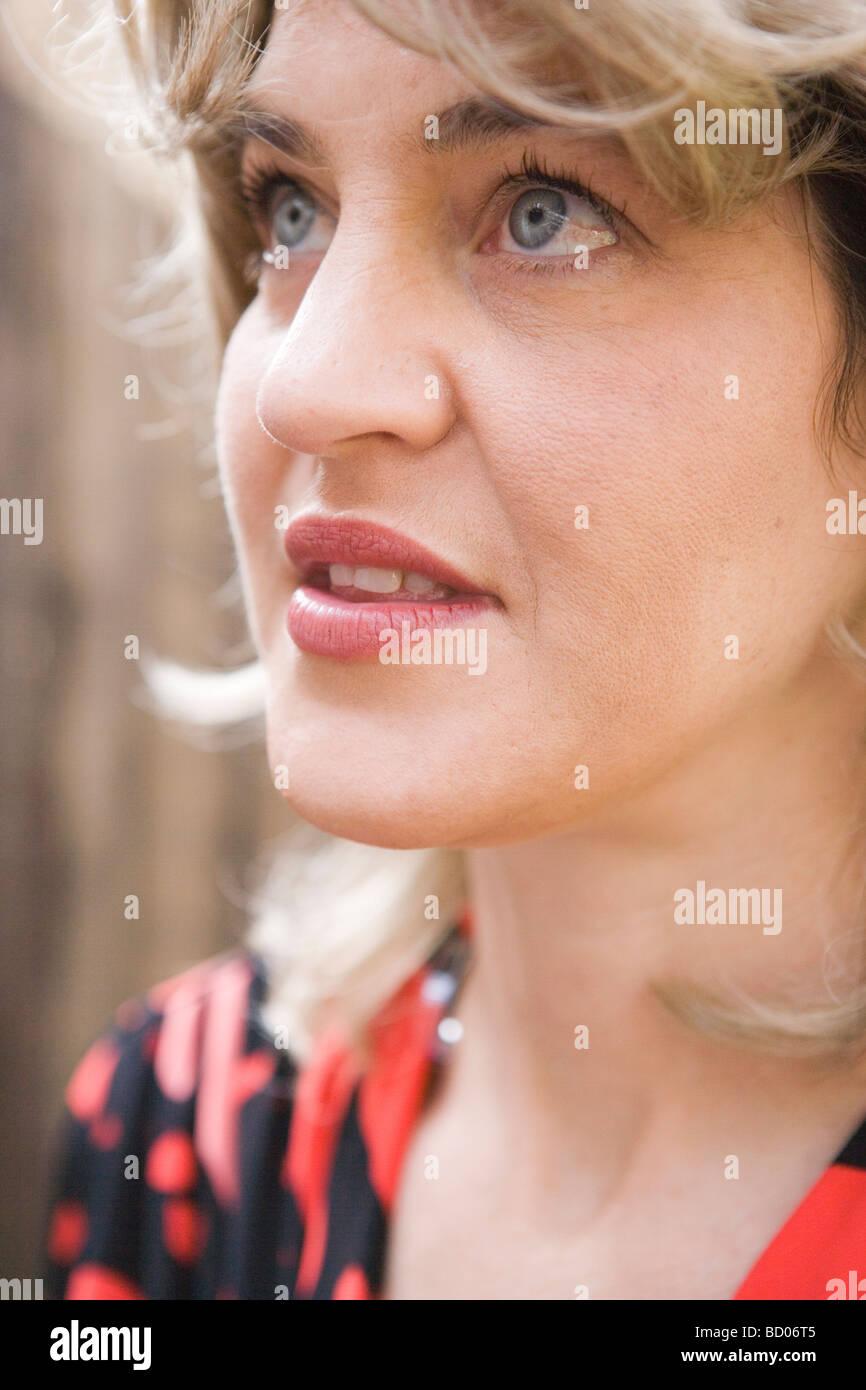 portrait of 70's woman, closeup - Stock Image