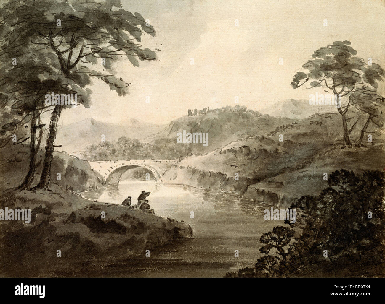Landscape, by William Gilpin. England, 18th-19th century - Stock Image