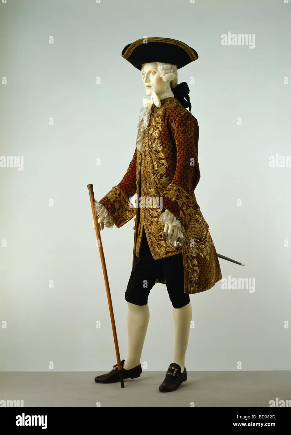 Dress coat and waistcoat. Italy, 18th century - Stock Image