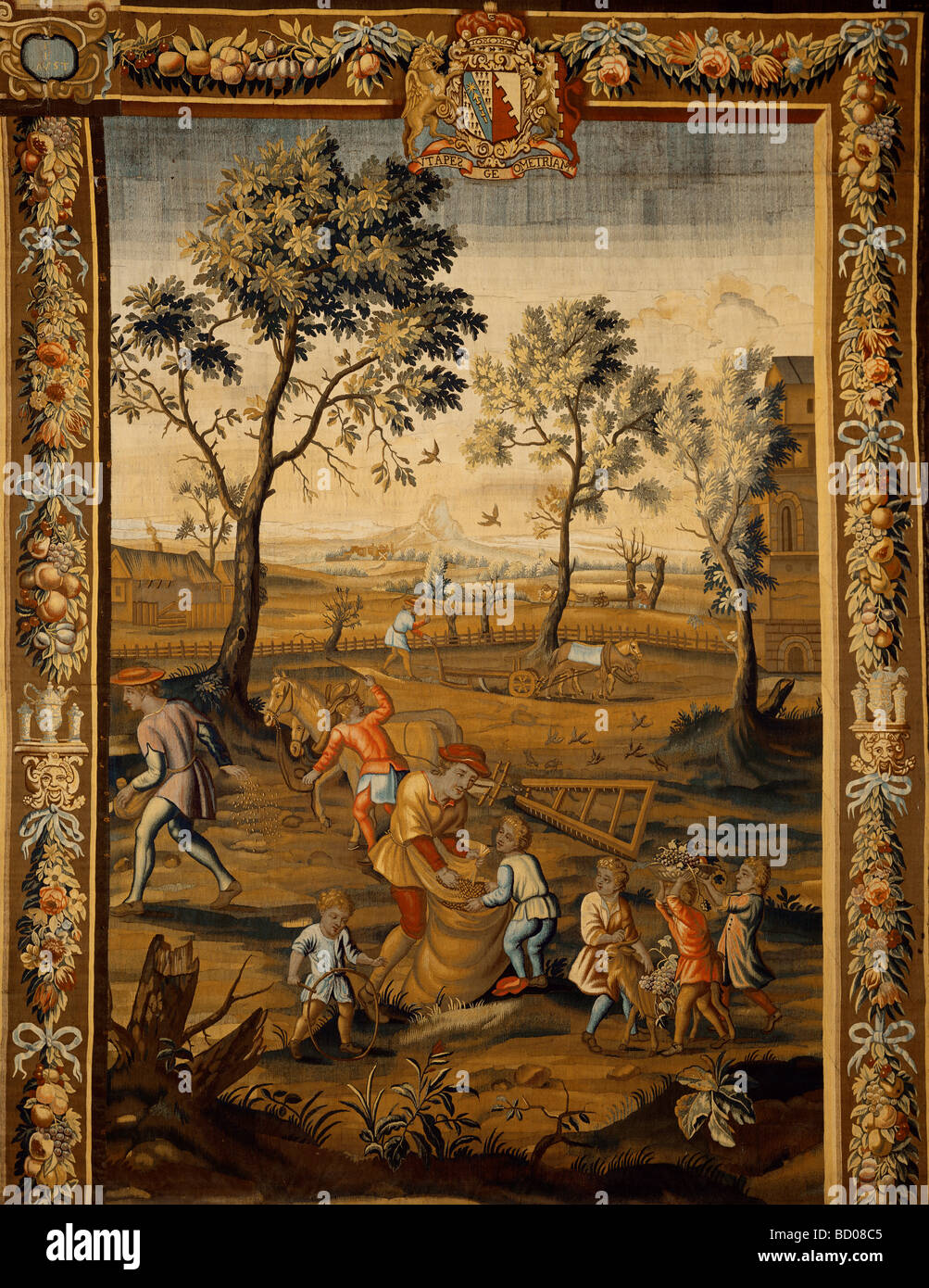 Sowing, one of a set of tapestries illustrating The Seasons, by ex-Mortlake weavers. England, 17th-18th century - Stock Image