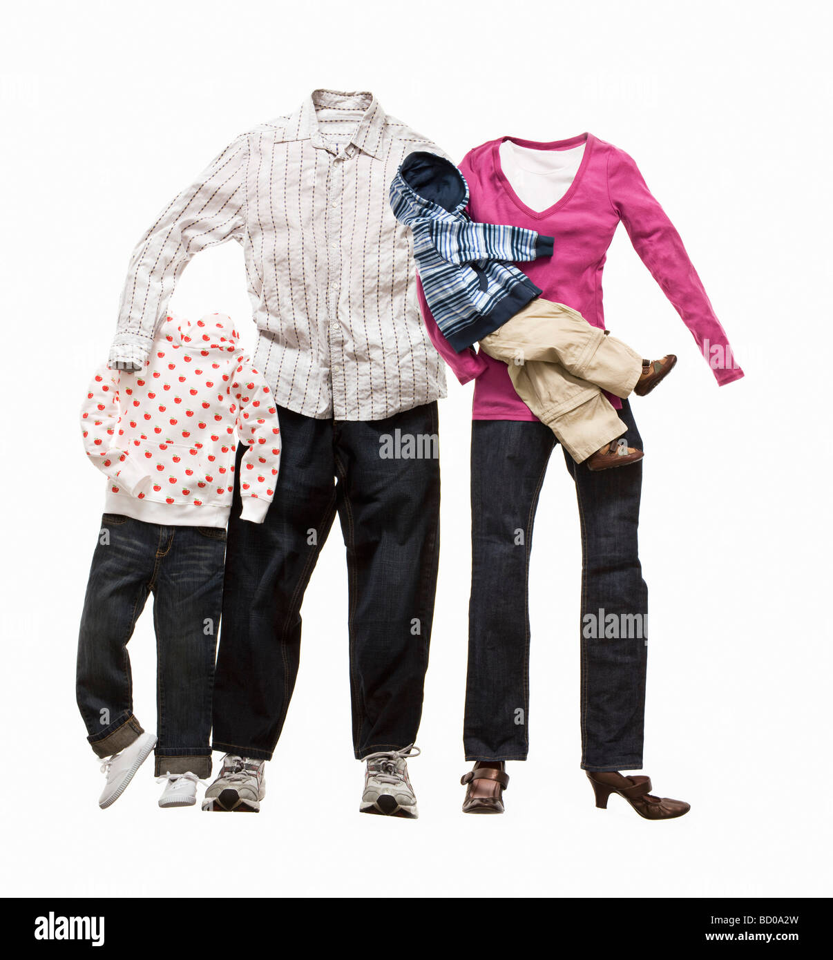 A family made from clothes - Stock Image