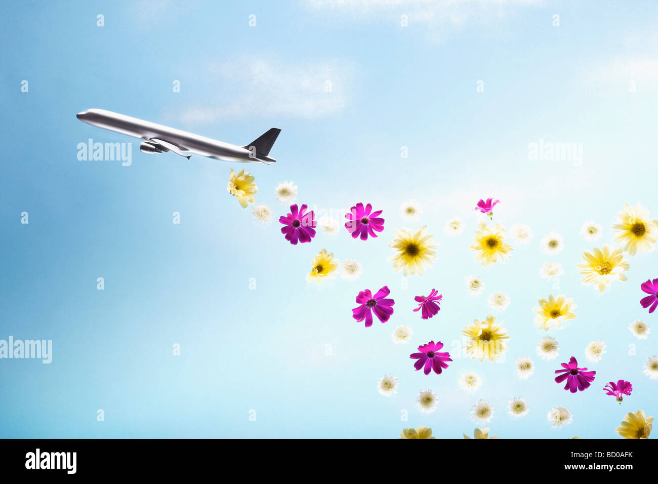 A plane emitting flowers Stock Photo