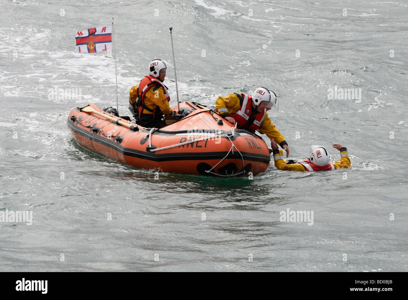 RNLI ILB D 547 practices rescue and recovery drills - Stock Image