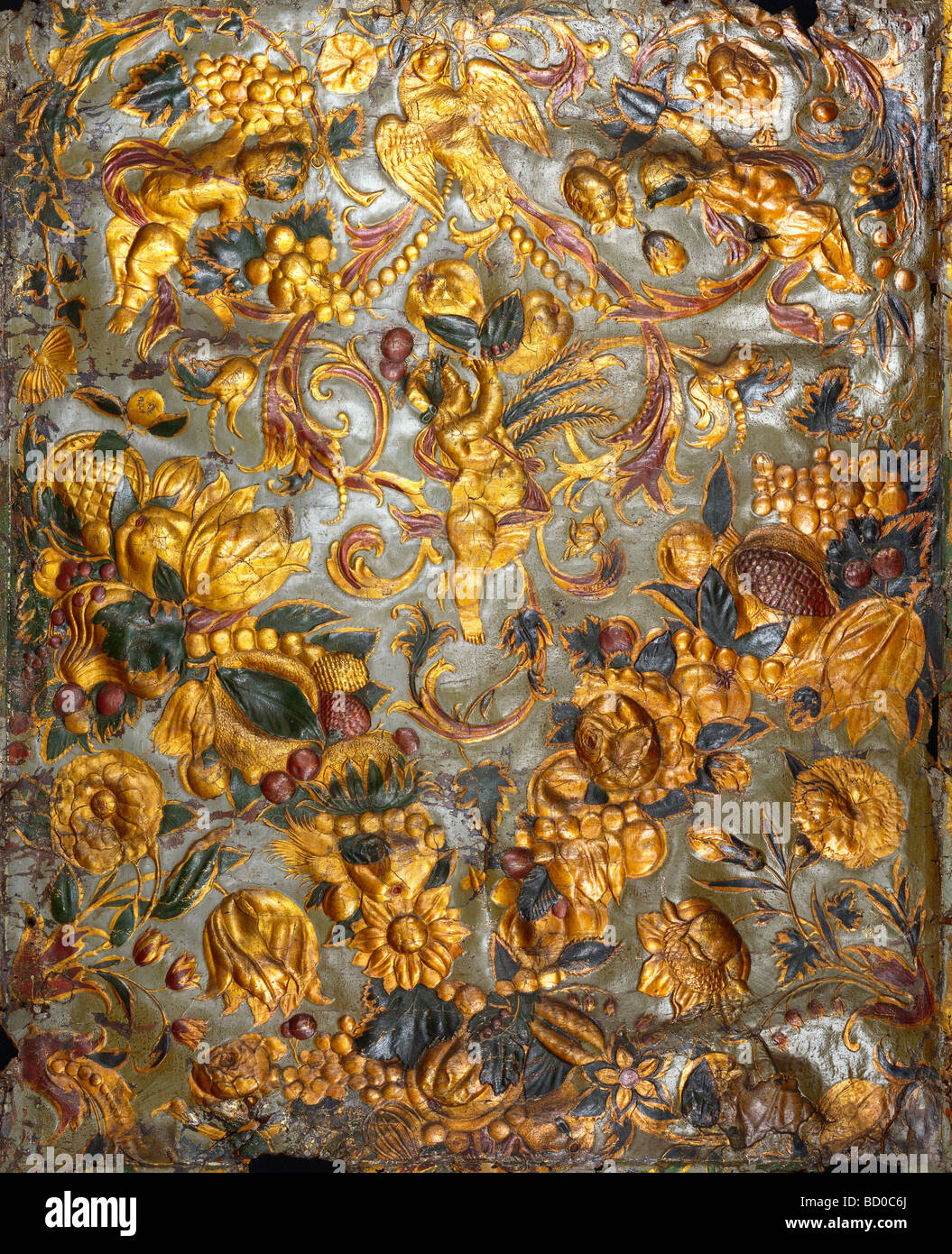 Panel, detail, by Martinus van den Heuvel. The Netherlands, late 17th century - Stock Image