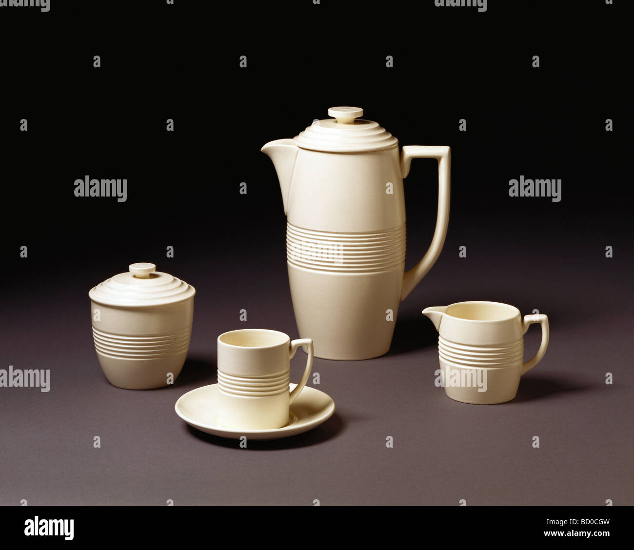 Coffee set, by Keith Murray. Stoke-on-Trent, England, 1933 - Stock Image