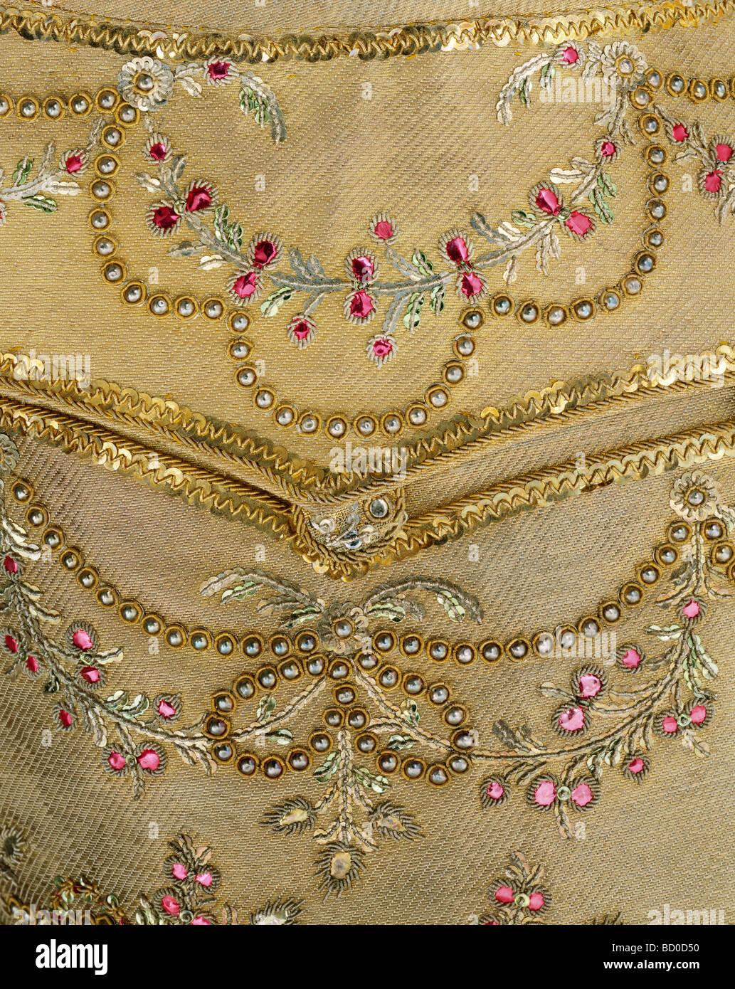 Waistcoat, detail. England, late 18th century - Stock Image
