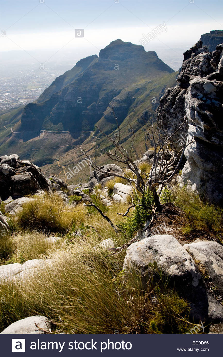 Devils Peak seen from the top of Table Mountain, Cape Town, South Africa - Stock Image