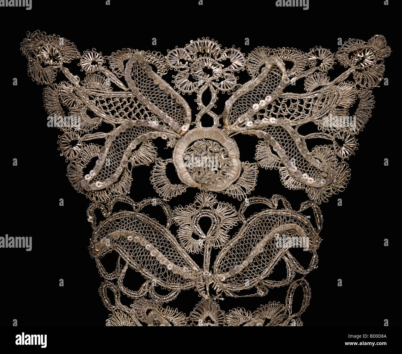 Gown and Stomacher, detail. England, early 18th century - Stock Image